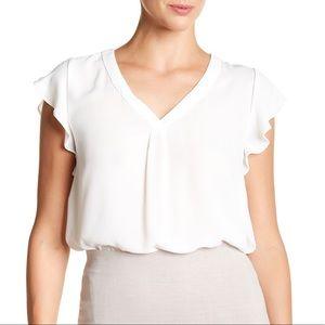 Philosophy   ruffle sleeve white blouse